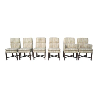 1980s Vintage Baker Furniture X Base Upholstered Dining Chairs- Set of 6 For Sale