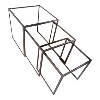 a fine chromed metal & glas nesting table