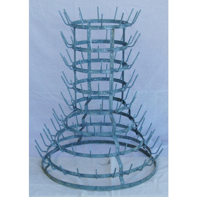 Early 1900s French Zinc Bottle Drying Rack - Image 6 of 9
