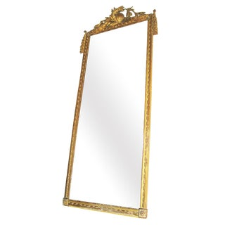 19th Century French Louis XVI Gilt Wood Mirror For Sale
