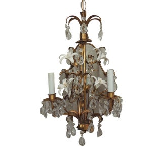 3 Light Italian Tole Chandelier With Lilies and Crystal Prisms For Sale