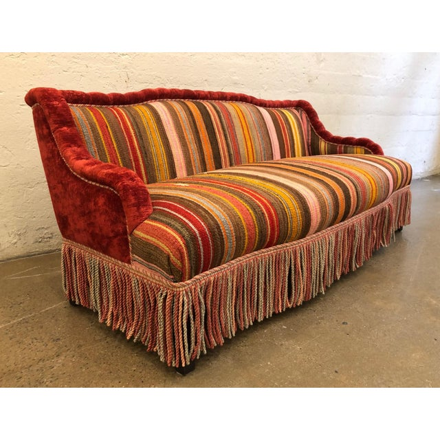 Custom Made Sofa in Vintage Flat Woven Kilim. The back is mohair as well as the trim of the sofa. The sofa has wooden legs.