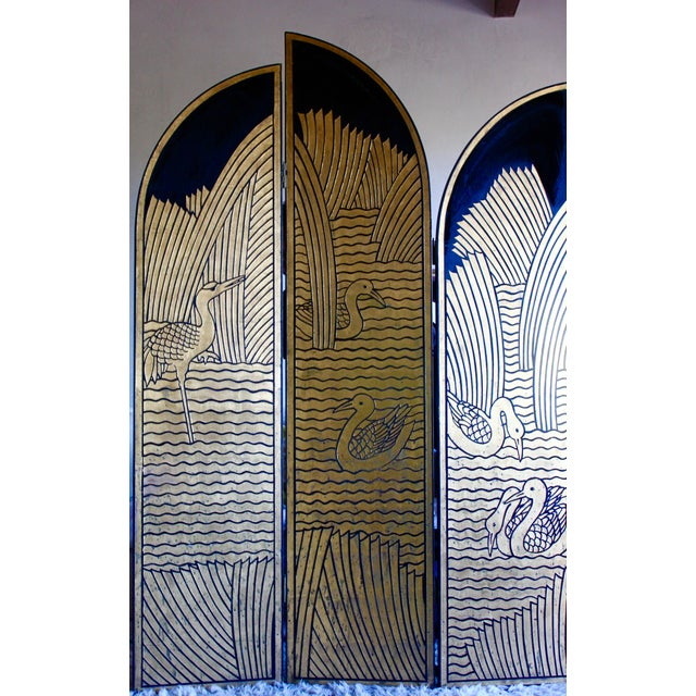 Art Deco Vintage Donald Deskey Style Art Deco Lacquer and Gilt Chinoiserie Folding Screen Room Divider Heron Reed Motif For Sale - Image 3 of 13