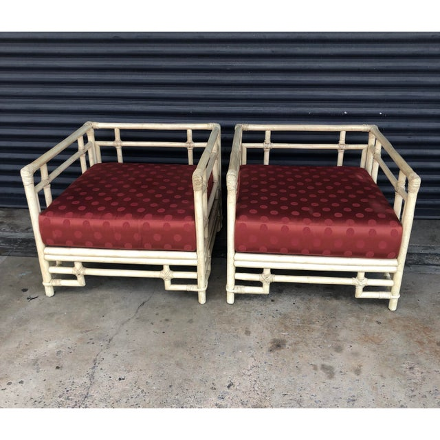 Asian Vintage Ficks Reed Rattan Fretwork Lounge Chairs- a Pair For Sale - Image 3 of 13