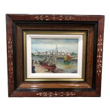 Image of Petite French Sailboat Oil on Board Painting in Vintage Frame For Sale