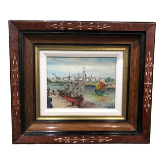 Petite French Sailboat Oil on Board Painting in Vintage Frame For Sale