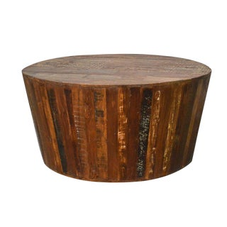 Rustic Reclaimed Barrel Coffee Table For Sale