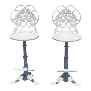 Vintage White French Country Swivel Bar Stools - a Pair For Sale