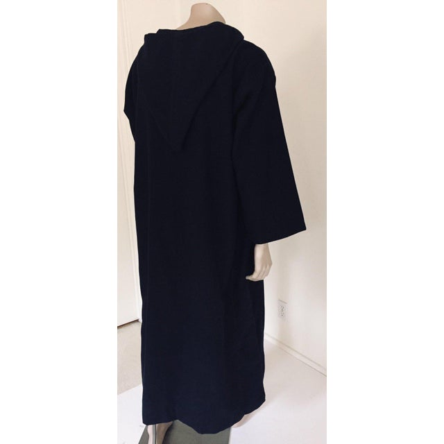 Mid 20th Century Moroccan Gentleman Hooded Blue Wool Djellaba For Sale - Image 5 of 13