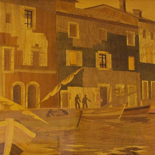 Mid-Century Modern 1940s Large Decorative Panel by Rosenau, Fishing Port Scene, Marquetry, France For Sale - Image 3 of 7