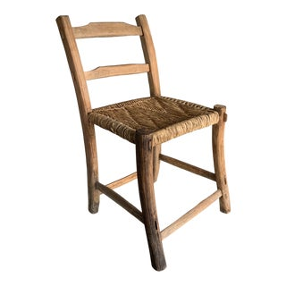 Early 20th Century Primitive Rush Seat Farmhouse Chair For Sale
