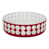Image of Hungarian Hand-Cut Red and White Cased Glass Bowl For Sale
