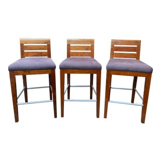 Bright Furniture Junior School Barstools + Slat Back + Nanotex Fabric - Set of Three For Sale