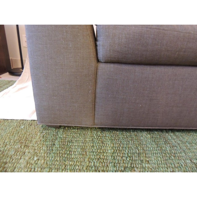 Feather Crate and Barrel Chaise Lounge in Brown Linen For Sale - Image 7 of 12