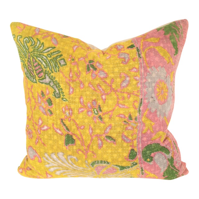 Vintage Kantha Quilt Pillow For Sale