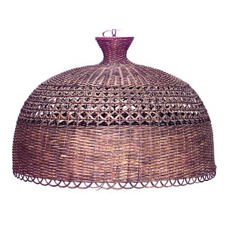American Mission Wicker Dome Chandelier For Sale