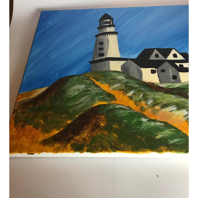 "Farmhouse Late 20th Century Vintage ""Montauk Lighthouse"" Acrylic Painting For Sale - Image 3 of 5"