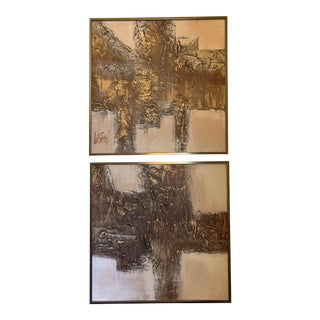 Lee Reynolds Abstract Mixed Media Framed Paintings - A Pair For Sale