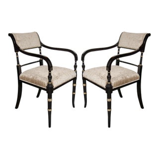 Elegant Pair of Mid-Century Modernist Neoclassical Scroll Arm Chairs