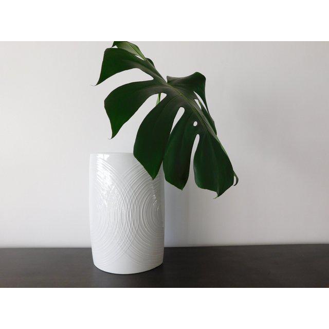 White White Porcelain Naaman Op Art Pillow Vase For Sale - Image 8 of 10