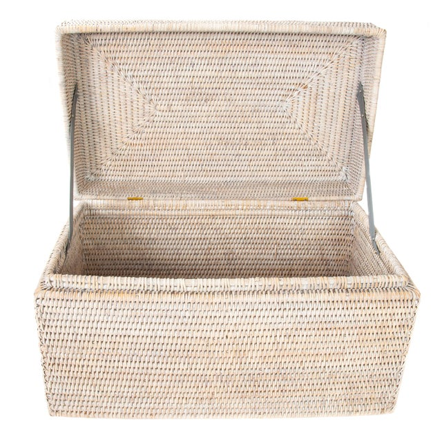 Artifacts Rattan Rectangular Hinged Chest For Sale - Image 4 of 6