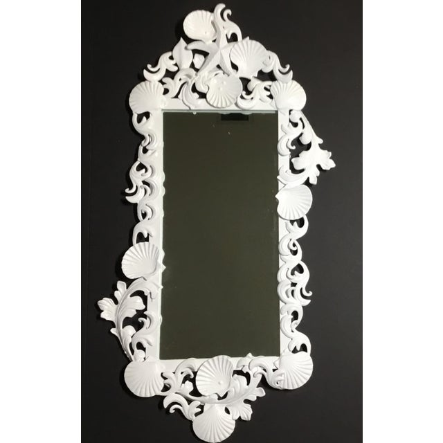 White Iron Sea Shell Mirror For Sale - Image 4 of 12