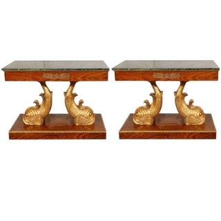 Dolphin Entry Console Tables - A Pair For Sale