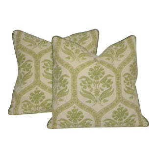 Thibaut Green and Beige Paisley Pillows With Down Inserts - a Pair For Sale