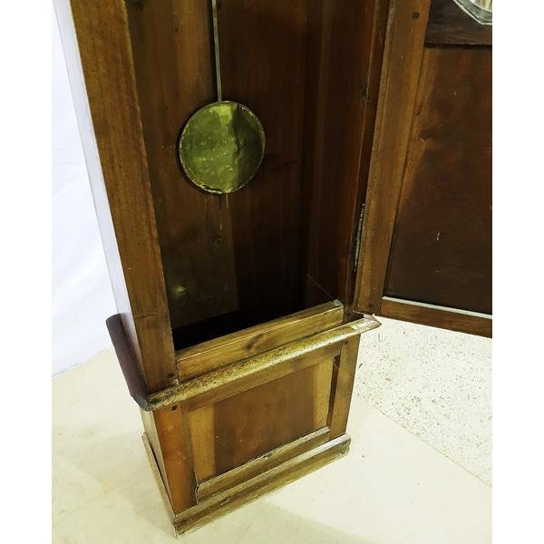 Brown 19th Century Antique French Tall Oak Clock Case and Non Working Clock For Sale - Image 8 of 12