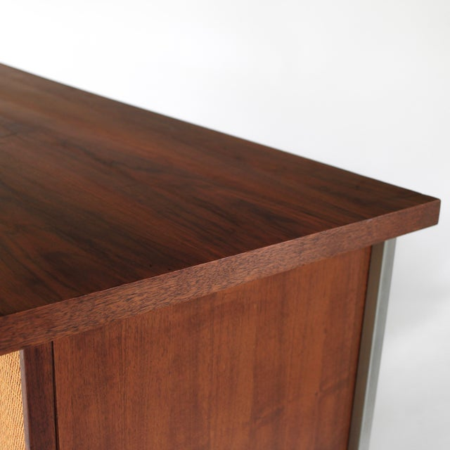 Caning 1950s Mid Century Modern Florence Knoll Style Walnut and Cane Desk For Sale - Image 7 of 13
