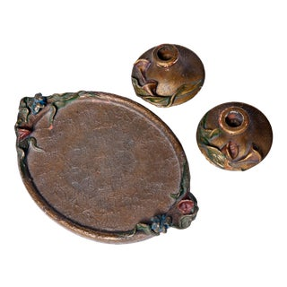 Art Noveau Dresser Tray with Candlesticks - 3 Pieces For Sale