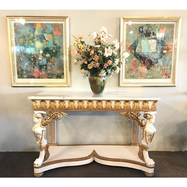 Simply Stunning Italian Empire White Painted and Parcel Gilt Decorated Console Table Circa 1825. The white marble...