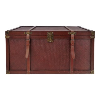 Wood & Woven Reed Blanket Chest With Brass Hardware & Leather Handles For Sale