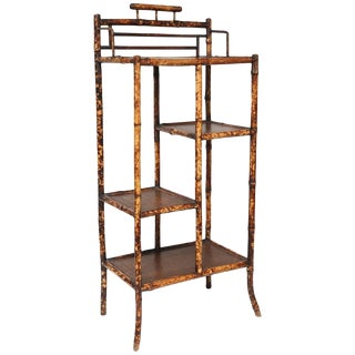 Late 19th Century Japanese Bamboo and Leather Topped Etagere