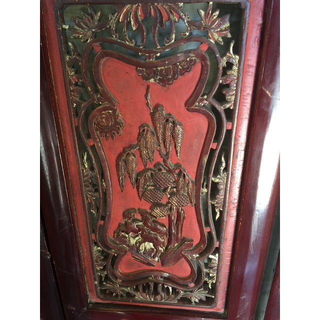 1900s Carved Antique Asian Screen Room Divider For Sale - Image 5 of 11