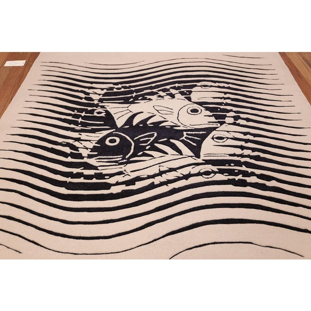 Mid 20th Century Vintage Maurits Escher Scandinavian Black and White Rug - 5′7″ × 8′ For Sale - Image 5 of 10