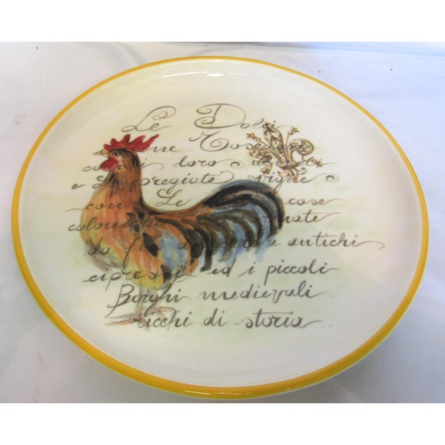 """15"""" Italian Rooster Plate with Stand - Image 3 of 5"""