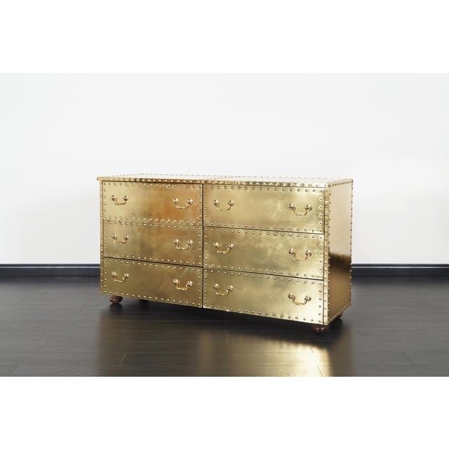 Vintage brass dresser designed by Sarreid Ltd. Follow Us Instagram: DanishModern_NoHo