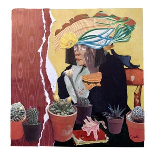 """Nancy Smith Original Collage """"Lady With House Plants"""" For Sale"""