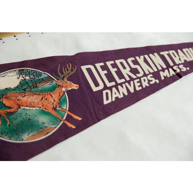 Americana Vintage Deerskin Trading Post Danvers, Mass. Felt Flag Pennant For Sale - Image 3 of 4