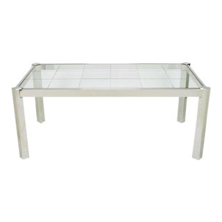 DIA Chrome & Incised Glass Canted Leg Dining Table For Sale