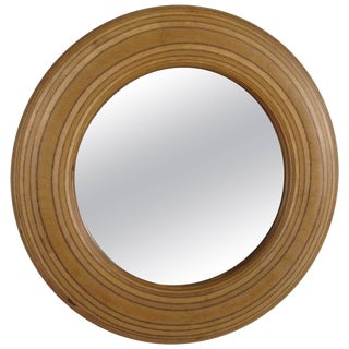 1980s Signed Circular White Birch Mirror For Sale
