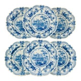 Image of British Theme 'Royal Sketches' Blue Transferware Dinner Plates, Set/6 For Sale