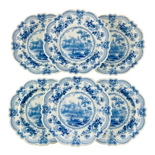 British Theme 'Royal Sketches' Blue Transferware Dinner Plates, Set/6 For Sale