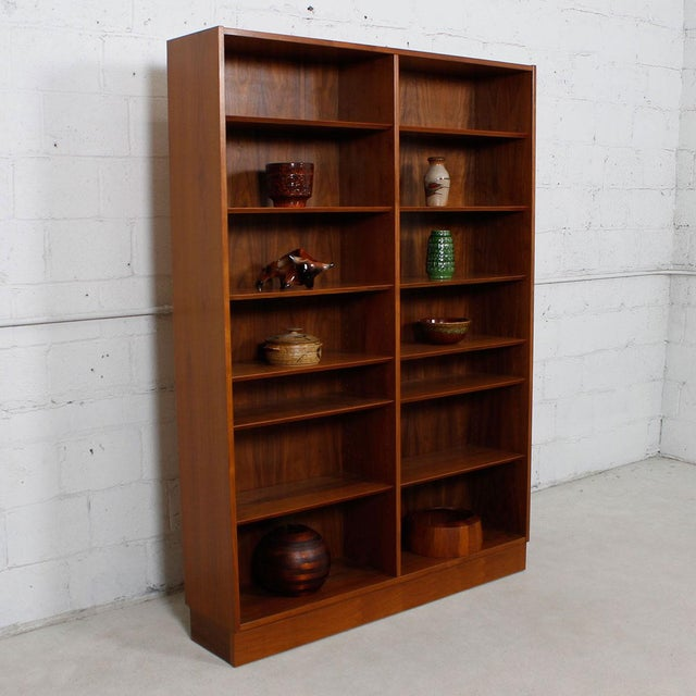 Danish Modern Double Bookcase with Adjustable Shelves in Walnut - Image 5 of 7