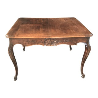 19th Century Country French Louis XV Carved Walnut Dining Table For Sale