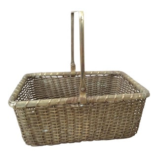 Arts & Crafts Woven Metal Basket For Sale