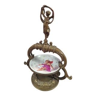 Antique Victorian Brass Figural Pocket Watch Holder