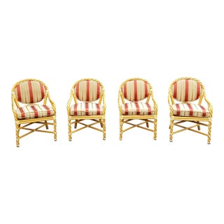 McGuire of San Francisco Twisted Rattan & Rawhide Custom Dining Chairs - Set of 4