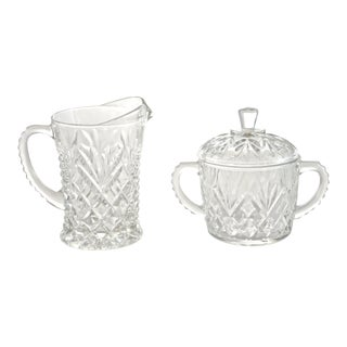 Pineapple Pattern Creamer & Sugar Bowl - A Pair For Sale